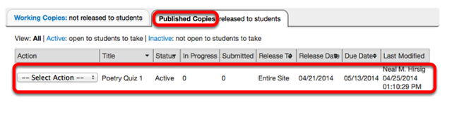 View listing of Published assessment under Published Copies tab.