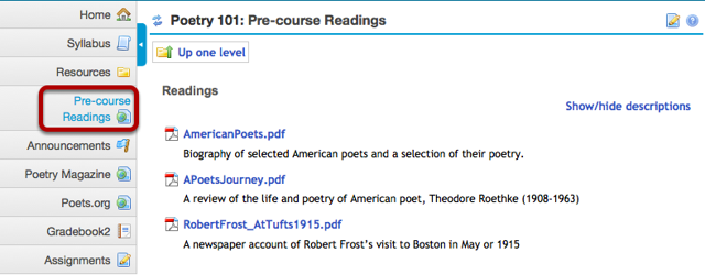 Example of a Web Content link to a folder in Resources.