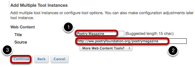Enter the web site information.