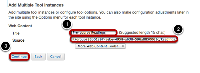 Enter the web site information, then click Continue.