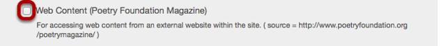 Un-check the Web Content tool link.