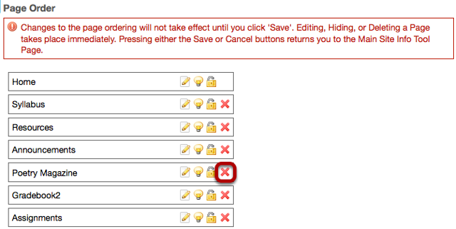 To the right of the Web Content tool name, click the red X.
