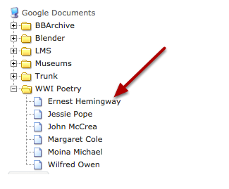 (Example view of Google Documents) - Select the document you want to link to.