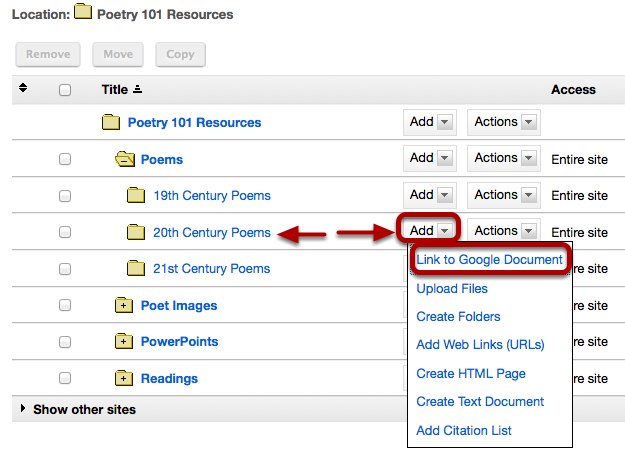 To the right of the folder you want to contain a link to a Google Document, click Add / Link to Google Document.