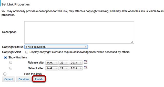 Optionally add a description, set copyright status, visibility, then click Finish