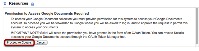 Click Proceed to Google.