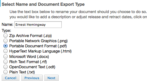 Select the type of document you would like the file to be seen as.