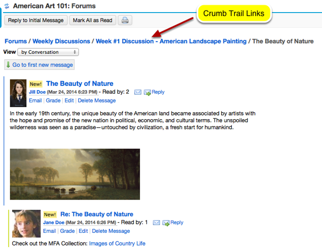 "You can use the ""crumb trail links"" to move about a Forum Topic."