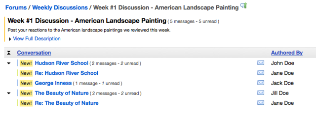 Example of expanded Conversation list: