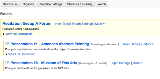 Example of a Group Forum with multiple Topics: