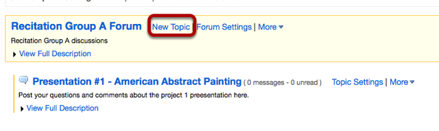To add additional Group Topics, click New Topic