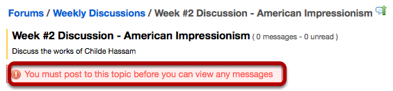 When a student clicks on the Topic name, a message is displayed.