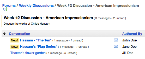 Once the student has posted a New Conversation, they can read other student's posts on the Topic.