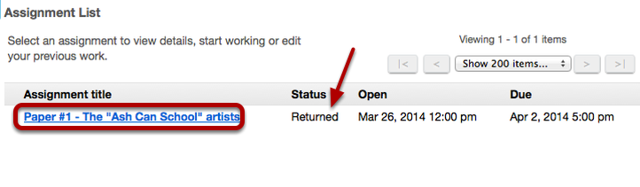 If your instructor has allowed you to resubmit your paper, click on the name of the paper in your Assignments list.