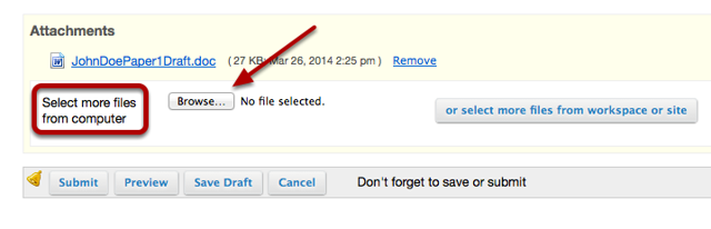 If the Assignment requires multiple files, click the Browse button again (BEFORE CLICKING ON SUBMIT)