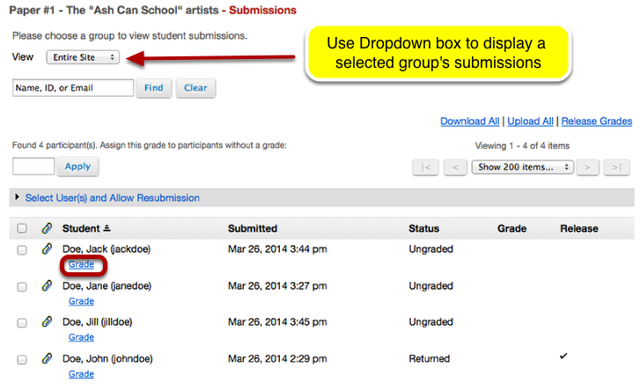 To view an individual student's submission, click Grade.