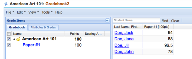 Example of released scores for student view in Gradebook2: