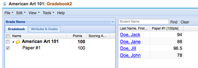 Example of Gradebook2 after Assignment grades are released.
