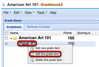 """To release the grades for students to view in Gradebook2, right-click the item and select """"Edit this grade item""""."""