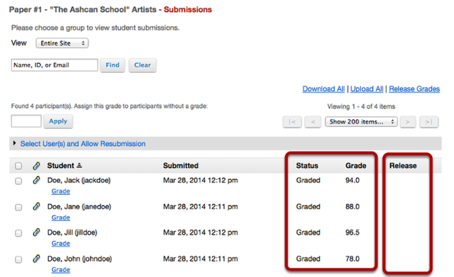 "Example of ""Unreleased"" Assignment submission list:"