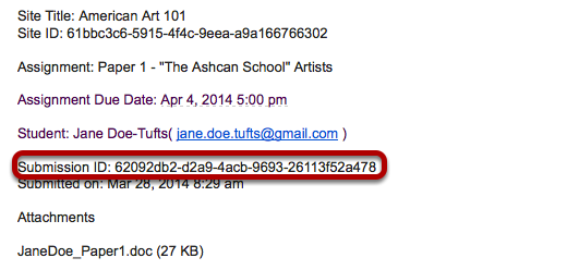 2- An e-mail is sent to the student that contains a Submission ID number.