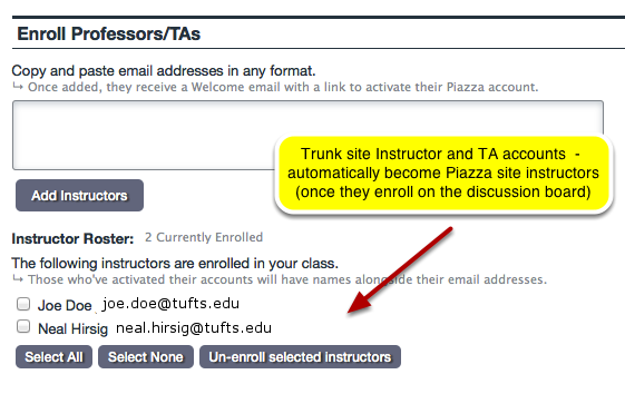 Scroll to Enroll Professors/TAs panel.