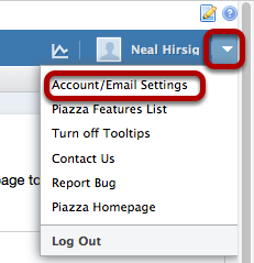 """Click on the down arrow to the right of your account name and select """"Account/Email Settings"""""""