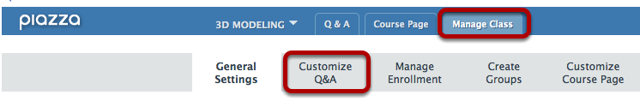 Click Manage Class, then Customize Q&A.