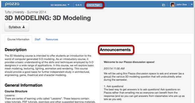 Students can also view Announcement on Course Page / Announcements.