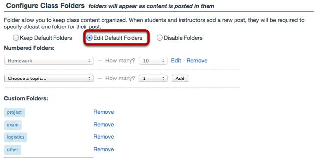 Scroll down to Configure Class Folders, then select Edit Default Folders.