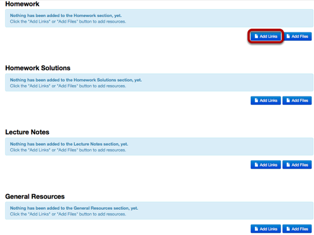 To add a link to a Resource folder, click Add Links
