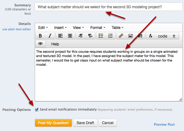 Enter a Summary for the question, the question details and Posting Options