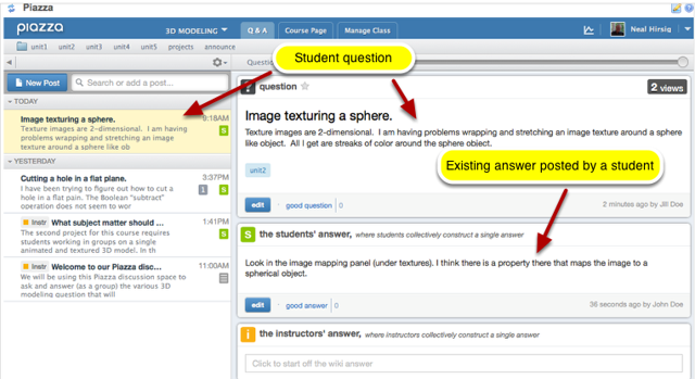 Method 1: (Join in the student wiki-like student answers) - Click on the student question.