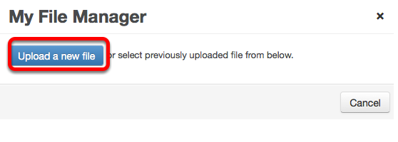 Click Upload a new file. Locate the image file on your computer and click Open