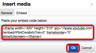 Paste the embed code in the box, then click OK.