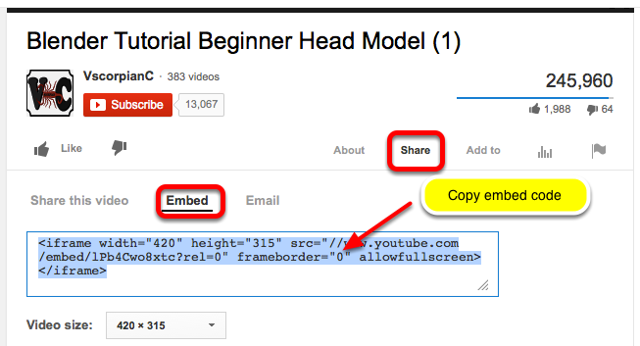 First, locate the embed code for the video (example YouTube)