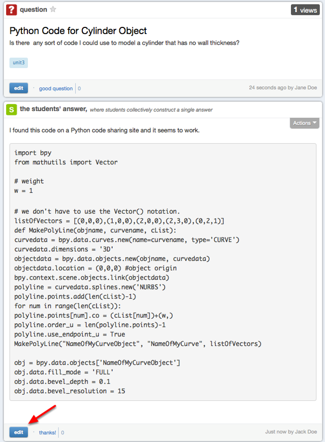 Example of a Piazza post with computer code.