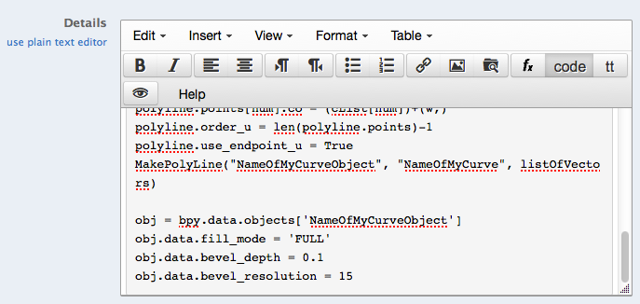 Paste your code in the code box, then click Post.