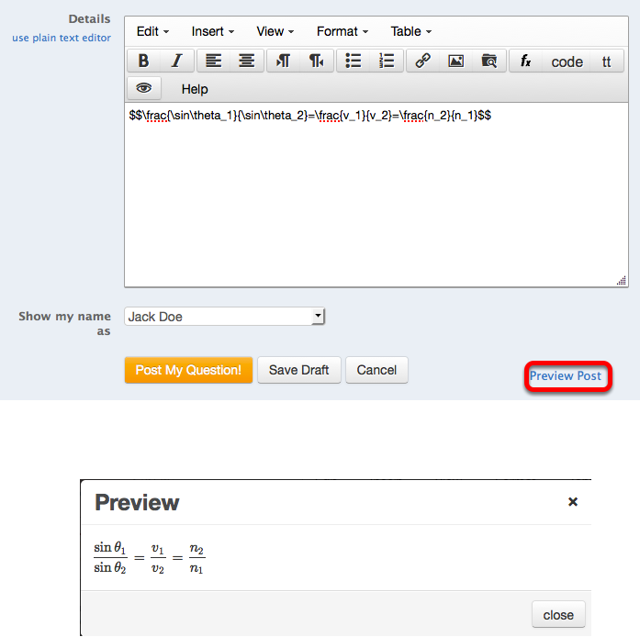 To see the equation, click Preview Post.