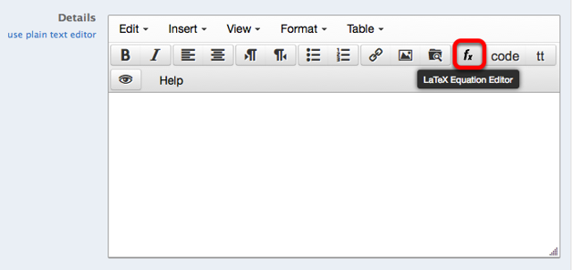 Click on the LaTeX equation editor icon.