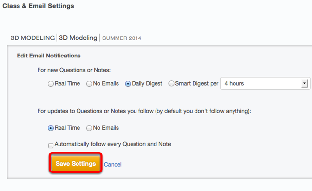 Select the desired settings, then click Save Settings.