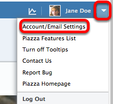 Click on Account / Email Settings.