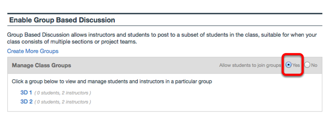 """To allow students to join a group, leave the default """"Allow students to join groups""""."""