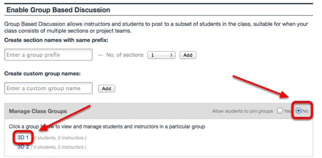 """To manually populate groups, select """"No"""" to Allow students to join groups, then Click on the group name."""