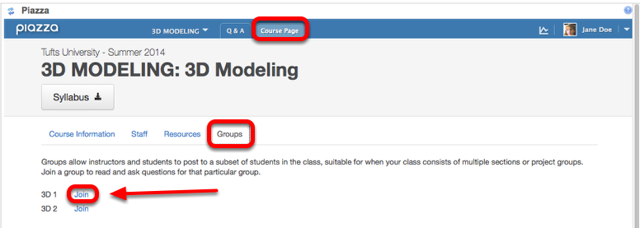 Students can then go to Course Page / Groups and click on Join.