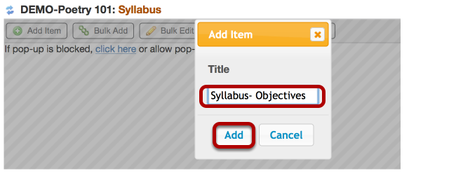 Enter a title for the first part of the syllabus, then click Add
