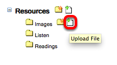 To the right of the Images folder click the Upload File icon.