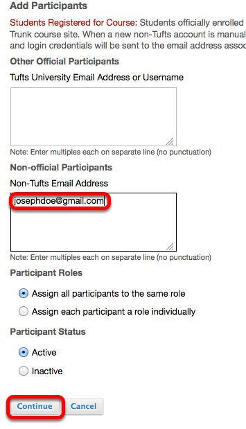Enter the person's non-Tufts University e-mail address into the BOTTOM box, then click Continue.