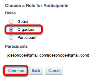 Select the user's role in the project site, then click Continue.