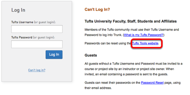 Click the link to Tufts Tools Website.
